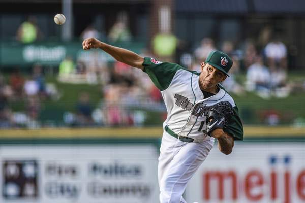 Mike Moore   The Journal Gazette TinCaps pitcher Carlos Guarate in the first inning against Dayton at Parkview Field on Tuesday.