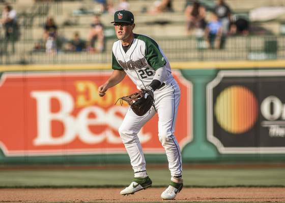 Mike Moore   The Journal Gazette TinCaps first baseman Seamus Curran watches the batter in the first inning against Dayton at Parkview Field on Tuesday.