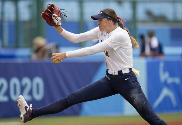 Associated Press The United States' Monica Abbott pitches against Canada at the Summer Olympics on Thursday in Fukushima, Japan.