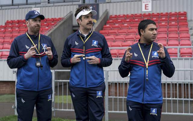 """Apple TV+ Brendan Hunt, left, Jason Sudeikis and Nick Mohammed star in """"Ted Lasso."""""""
