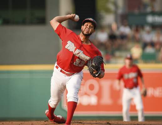 Mike Moore | The Journal Gazette TinCaps pitcher Anderson Espinoza delivers to home plate in the first inning against Dayton at Parkview Field on Thursday night.