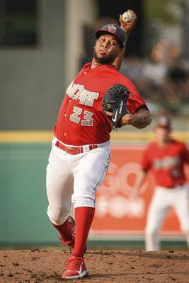 Mike Moore | The Journal Gazette TinCaps pitcher Anderson Espinoza pitches in the first inning against Dayton at Parkview Field on Thursday.