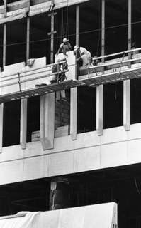 July 3, 1969: Crews install facing on the side of the new City-Council Building downtown. (Journal Gazette file photo)