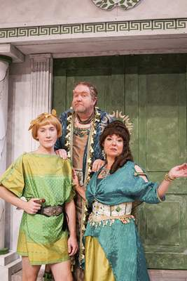 Mike Moore | The Journal Gazette  From the left, Michael Bartkiewicz, Christopher J. Murphy, Suzan Moriarty are members of the House of Senex inCivic Theatre's A Funny Thing Happened on the Way to the Forum.