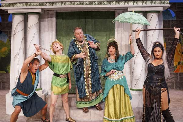 Mike Moore | The Journal Gazette  From the left, Brad Beauchamp, Michael Bartkiewicz, Christopher J. Murphy, Suzan Moriarty, Anya Smead are among performers in Civic Theatre's A Funny Thing Happened on the Way to the Forum.