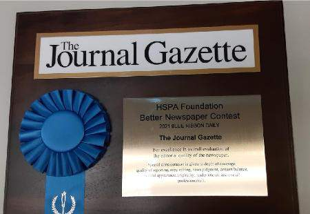 Jim Chapman | The Journal Gazette: The Journal Gazette has won the Blue Ribbon Award for Indiana daily newspapers, given annually to papers judged to be the best in the state.