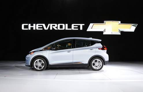 Auto Show Chevrolet FILE - In this Jan. 9, 2017 file photo the Chevrolet Bolt is on display at the North American International Auto Show in Detroit. General Motors is recalling some older Chevrolet Bolts, Friday, July 23, 2021, for a second time to fix persistent battery problems that can set the electric cars ablaze. The recall covers about 69,000 Bolts worldwide from 2017, 2018 and part of the 2019 model year. GM says it's still working on repairs but it's likely battery parts will be replaced.(AP Photo/Paul Sancya, File) (Paul Sancya STF)