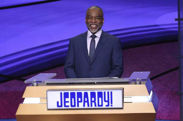 This image provided by Jeopardy Productions, Inc. shows Jeopardy! guest host LeVar Burton on the set of the game show. (Carol Kaelson/Jeopardy Productions, Inc. via AP)