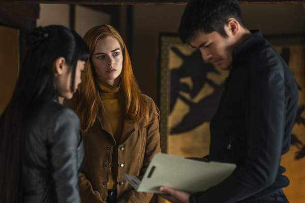 This image released by Paramount Pictures shows, from left, Haruka Abe, Samara Weaving and Henry Golding in a scene from Snake Eyes: G.I. Joe Origins. (Niko Tavernise/Paramount Pictures via AP)