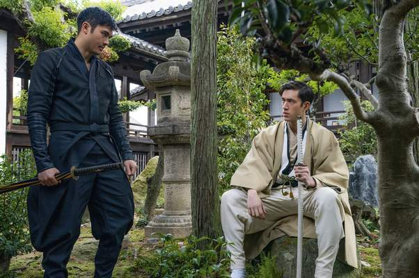 This image released by Paramount Pictures shows Henry Golding and Andrew Koji in a scene from Snake Eyes: G.I. Joe Origins. (Niko Tavernise/Paramount Pictures via AP)