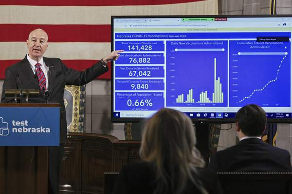 Associated Press Nebraska Gov. Pete Rickets points to vaccination statistics during a January news conference in Lincoln, Neb.