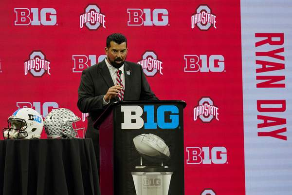 Associated Press Ohio State head coach Ryan Day talks to reporters at the Big Ten Media Days on Friday in Indianapolis.