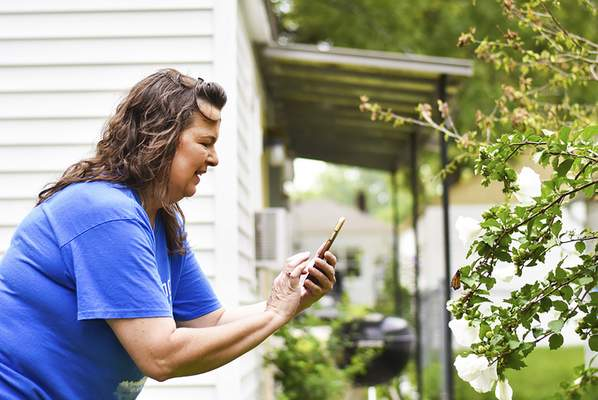 Katie Fyfe   The Journal Gazette Codi McCann's mother Stacey Davis takes a photo of one of the butterflies released that landed on a tree near by on Saturday.