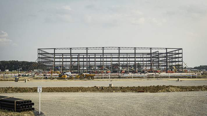 Mike Moore   The Journal Gazette The Amazon distribution center is taking shape on Flaugh Road.