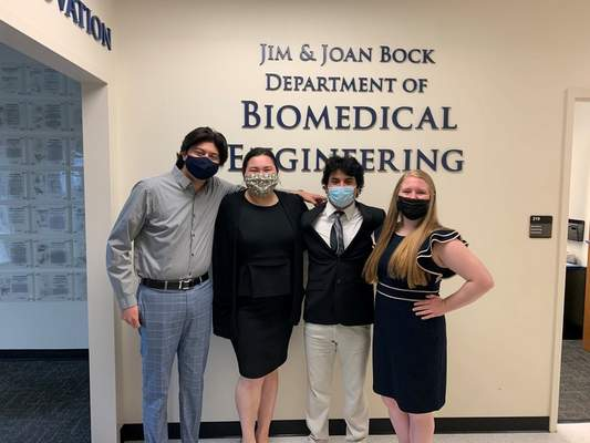 Courtesy  Team members from Trine University who worked on developing prosthetics for two Warsaw girls, including Kyra Baker, includes, from left, David Cervera, Karina Bruce, Ben Avey and Marissa Shaver.
