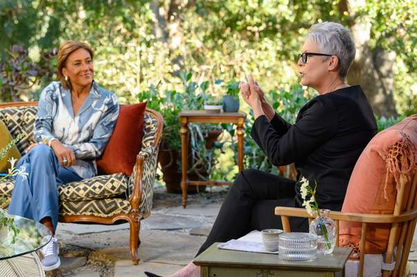 Disney+  Robin Roberts listens to Jamie Lee Curtis during a segment forTurning the Tables With Robin Roberts, which debuts Wednesday on Disney+.