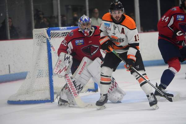 Mike Wiser Photography  Komets forward Anthony Petruzzelli stations himself in front of South Carolina Stingrays goaltender Hunter Shepard in Game 2 of the Kelly Cup Finals at North Charleston, South Carolina.
