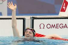 Tokyo Olympics Swimming Associated Press The United States' Lydia Jacoby celebrates after winning the final of the women's 100-meter breaststroke early today at the Summer Olympics in Tokyo. (Petr David Josek STF)