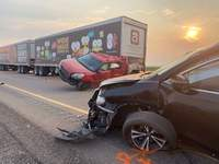 Fatal Pileup Crash Utah Associated Press This photo provided by the Utah Highway Patrol shows several of the 22 vehicles involved in a fatal pileup Sunday on Interstate 15 near Kanosh, Utah. Eight people died in the crash that occurred in a sandstorm. (HOGP)