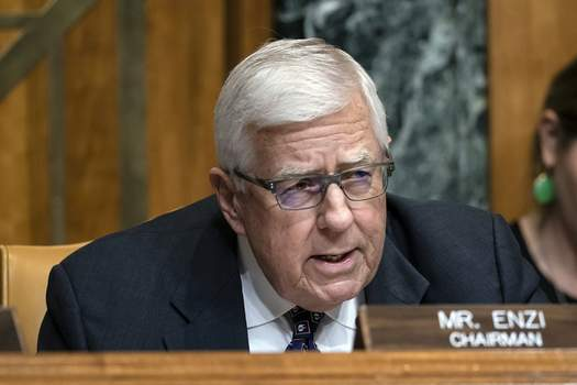 Former Senator Accident FILE - In this March 27, 2019, file photo, Sen. Mike Enzi, R-Wyo., chairman of the Senate Budget Committee, makes an opening statement on the fiscal year 2020 budget resolution, on Capitol Hill in Washington. Recently retired U.S. Sen. Mike Enzi of Wyoming died Monday, July 26, 2021. He was 77 years old. (AP Photo/J. Scott Applewhite, File) (J. Scott Applewhite STF)