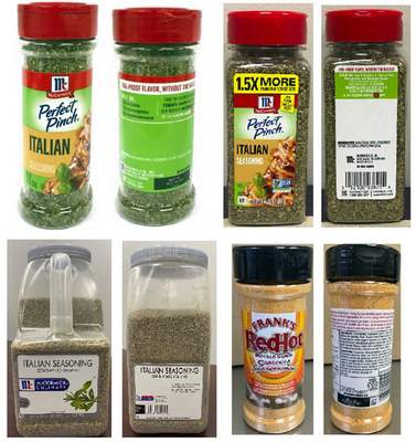 This combo of product images provided by McCormick & Co. shows McCormick Perfect Pinch Italian Seasoning, McCormick Culinary Italian Seasoning and Frank's RedHot Buffalo Ranch Seasoning. The company said this week that it is voluntarily recalling the seasonings due to possible salmonella contamination. The products were shipped between June 20 and July 21 to 32 states, Bermuda and Canada. (McCormick & Co via AP)