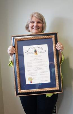 Courtesy Jerrilee Mosier, chancellor ofIvy Tech Community College Fort Wayne,was presented Tuesday with a Sagamore of the Wabash award.