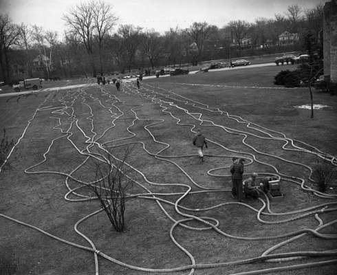 Dec. 4, 1950: Hoses were run from fire trucks by theSt. Joseph Riverup to the Water Filtration Plant as fire crewssupplied emergency water reserves.