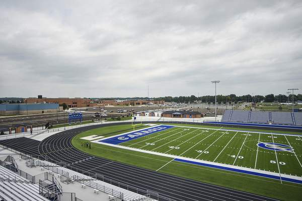 Katie Fyfe   The Journal Gazette  The new stadium at Carroll High School as well as the new parking lot space pictured on Thursday.