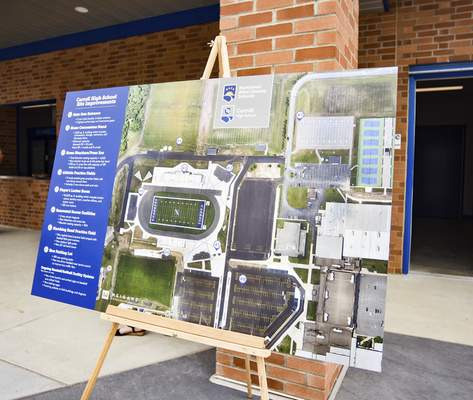Katie Fyfe   The Journal Gazette  A map is put out showing the Carroll High School site improvements on Thursday.