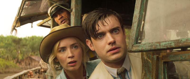 """Disney Jack Whitehall, right, Emily Blunt and Dwayne Johnson star in the new Disney film """"Jungle Cruise."""""""