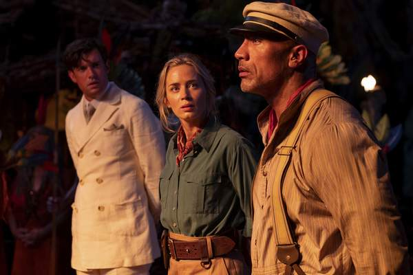 This image released by Disney shows, from left, Jack Whitehall, Emily Blunt and Dwayne Johnson in a scene from Jungle Cruise. (Disney via AP)