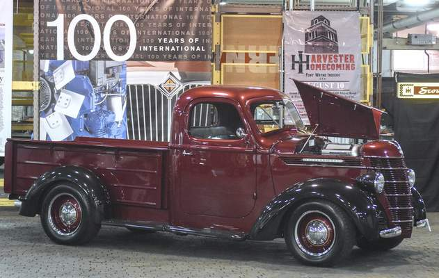 A 1937 International Harvester D2 truck, which was restored and widened with a custom four-cylinder, twin turbo factory-built engine, is displayed Friday at the former  Navistar  complex.