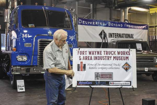 Michelle Davies | The Journal Gazette Jerry Betley, vice president / Fort Wayne Works retiree with Harvester Homecoming, unveils plans for the former International Harvester Engineering complex on Meyer Road.