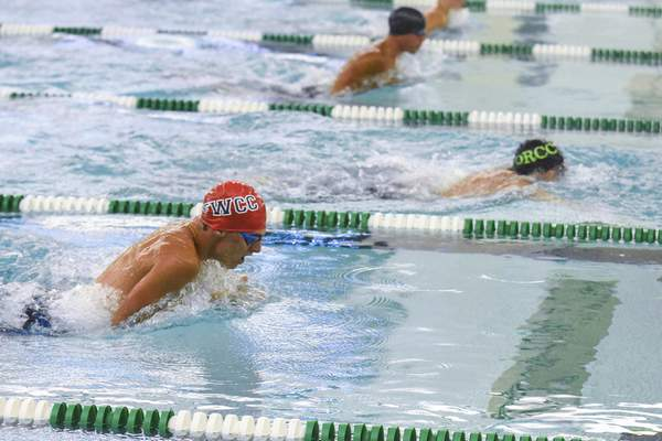 Michelle Davies   The Journal Gazette  Fort Wayne Country Club's Max Heisler competes in the Boys 15 & Over 50 SC Meter Breast Stroke Sunday morning at 2021 Fort Wayne City Swim Meet at the Helen P. Brown Natatorium. He finished 14th in the event.