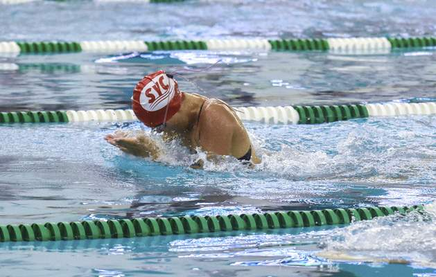 Michelle Davies   The Journal Gazette  Rachel Lenardson of Sycamore Hills competes in the Girls 15 & Over 50 SC Meter Breast Stroke Sunday morning at 2021 Fort Wayne City Swim Meet at the Helen P. Brown Natatorium.