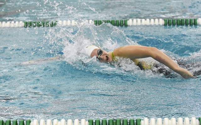 Michelle Davies   The Journal Gazette Pine Valley Country Club's Onna Spurgeon competes in the Girls 15 & Over 50 SC Meter Freestyle Sunday morning at 2021 Fort Wayne City Swim Meet at the Helen P. Brown Natatorium.