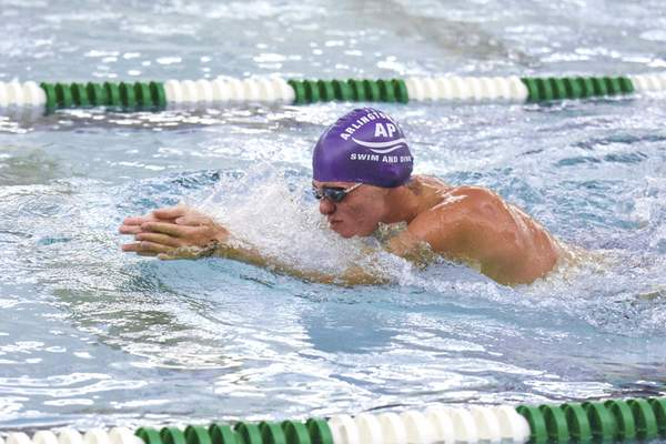 Michelle Davies   The Journal Gazette  Arlington Park's Robby Bergeron competes in the Boys 15 & Over 50 SC Meter Breast Stroke Sunday morning at 2021 Fort Wayne City Swim Meet at the Helen P. Brown Natatorium. He placed 16th in the event.