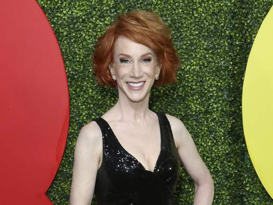 FILE - Comedian Kathy Griffin arrives at the 2018 GQ's Men of the Year Celebration in Beverly Hills, Calif., on Dec. 6, 2018. (Photo by Willy Sanjuan/Invision/AP, File)