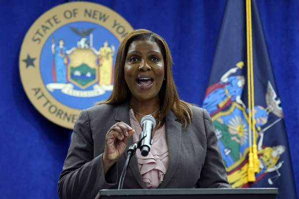 FILE - New York Attorney General Letitia James addresses a news conference at her office, in New York, Friday, May 21, 2021. (AP Photo/Richard Drew, File)