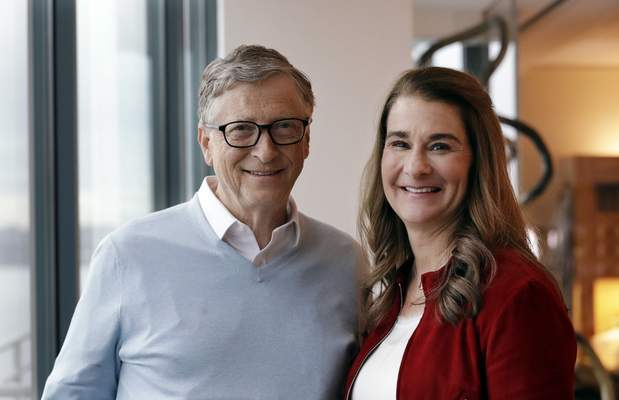 FILE - In this Feb. 1, 2019, file photo, Bill and Melinda French Gates pose together in Kirkland, Wash. The divorce of Bill Gates and Melinda French Gates has been finalized. The Microsoft co-founder and his wife announced in May 2021 they were ending their 27-year marriage and on Monday, Aug. 2, a King County Superior Court judge signed the dissolution decree. (AP Photo/Elaine Thompson, File)