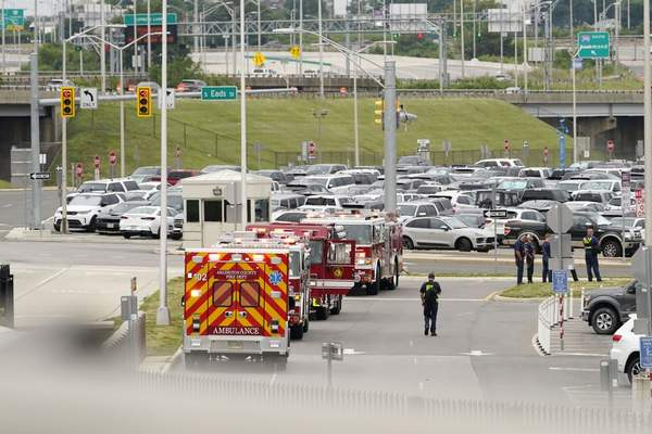 Rescue vehicles are seen outside the Pentagon Metro area, Tuesday, August 3, 2021 at the Pentagon in Washington. (AP Photo/Andrew Harnik)