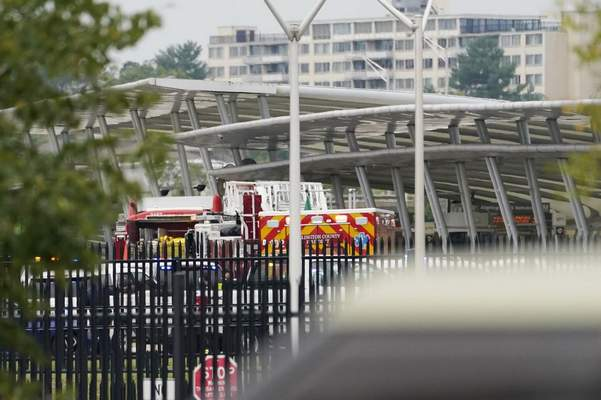 Emergency vehicles are seen outside the Pentagon Metro area Tuesday, Aug. 3, 2021, at the Pentagon in Washington. (AP Photo/Andrew Harnik)