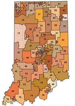 Indiana University Indiana House Districts redrawn after the 2010 Census and approved in 2011 reflect the influence of gerrymandering.