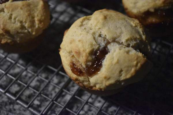 Jam Muffins are an easily portable breakfast option reminiscent of biscuits and jam.