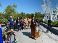 Open Streets Devan Filchak | The Journal Gazette: Open Streets Fort Wayne program manager Amy Hartzog shares details of the event set for Aug. 29 at a news conference Wednesday at Promenade Park.