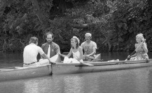 July 14, 1984: Canoe enthusiasts Sharon Truelove, 26, and Dennis Bidwell, 29, were married July 14, 1984, on the St. Marys River near the Old Fort. (Journal Gazette file photo)