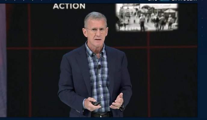 In a screenshot taken from the Global Leadership Summit, retired Army Gen. Stanley McChrystal talks about policy, structure, communication and risk during his presentation.