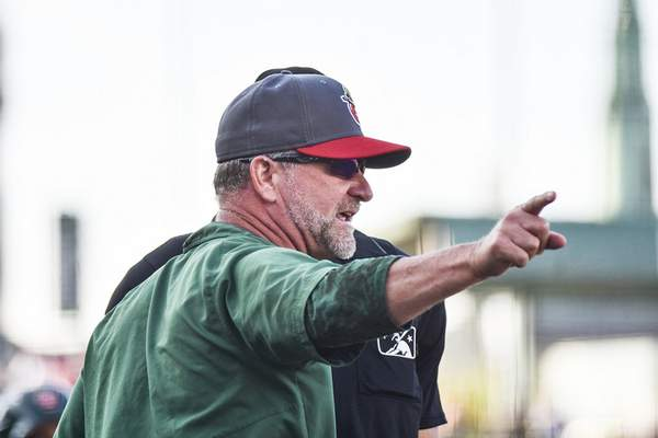 Katie Fyfe   The Journal Gazette TinCaps' hitting coach Jonathan Mathews has a heated exchange with the umpire before getting ejected from the game during the second inning against South Bend at Parkview Field on Saturday.