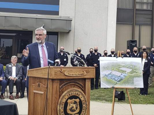 Nikki Kelly | The Journal Gazette Gov. Eric Holcomb speaks Monday at the Indiana Law Enforcement Academy in Indianapolis.