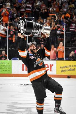 Mike Moore | The Journal Gazette  Shawn Szydlowski, who finally won a Cup with the Komets, is poised to have back surgery. It's unclear if he'll play again for the Komets, but he wants to play professional hockey again.